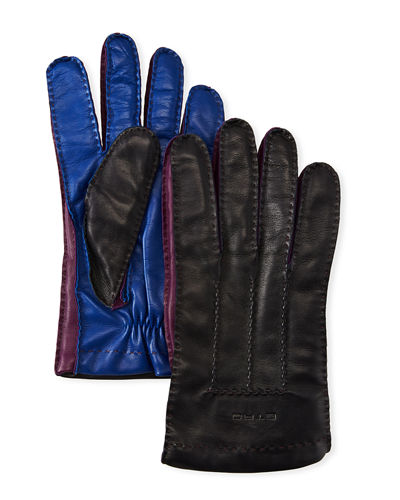 Men's Colorblock Leather Gloves
