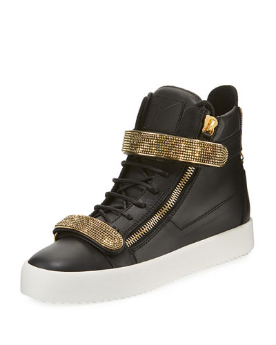 Men's Double Nailhead-Bar High-Top Leather Sneakers