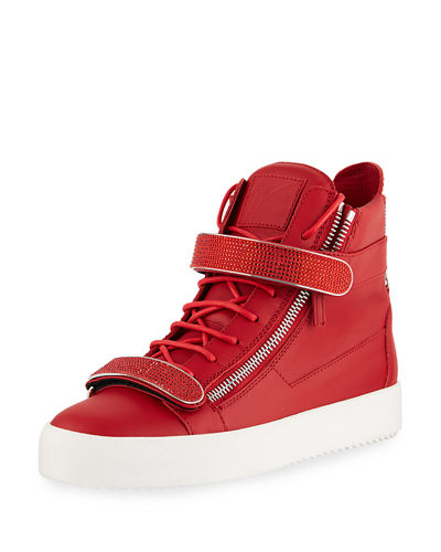 Giuseppe Zanotti Men's Double Nailhead-Bar High-Top Leather