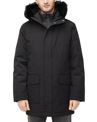 Men's Butte Fur-Trim Hooded Parka Coat