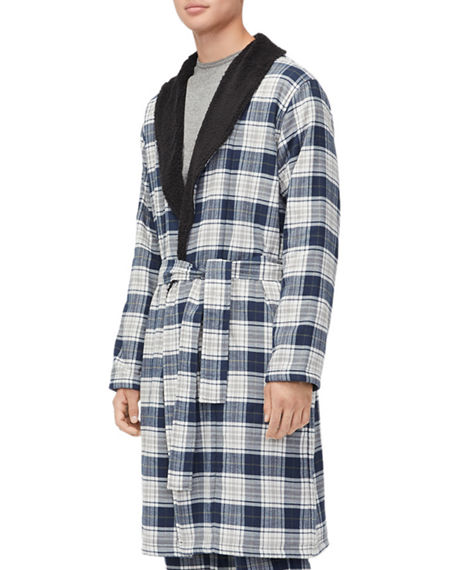 04c95f351f Ugg Men S Kalib Sherpa-Lined Plaid Robe In Navy Plaid