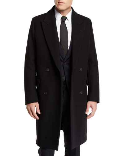 Men's Mickey Double-Breasted Wool Overcoat