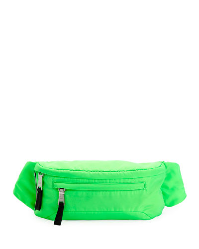 Men's Nylon Belt Bag/Fanny Pack with Fluorescent Lining