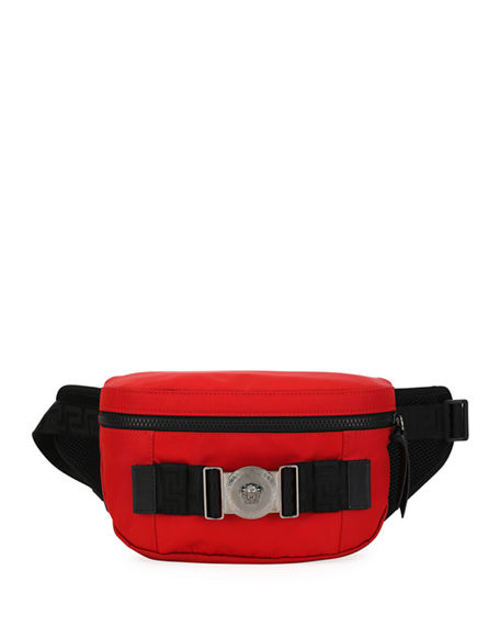 Versace MEN'S LOGO-MEDALLION NYLON BELT BAG