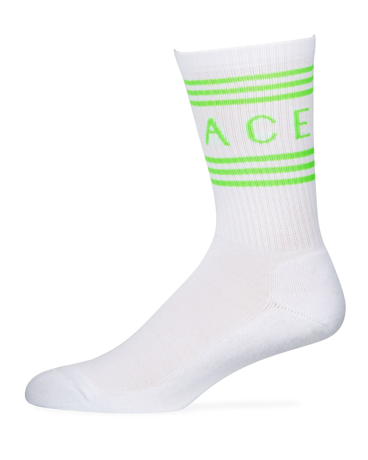Versace Men's Athletic Band Socks In White/Green