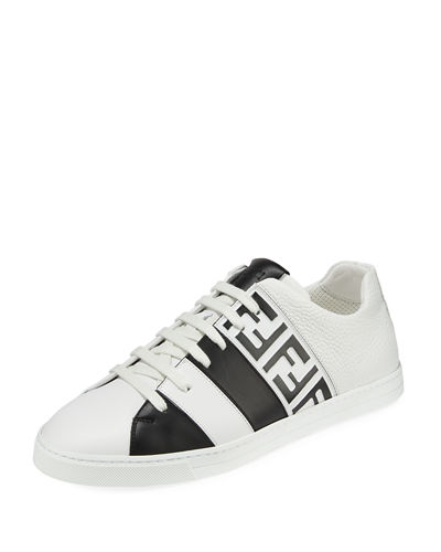 828dc4a9498ca Men s Fendi Mania FF Leather Low-Top Sneakers Quick Look