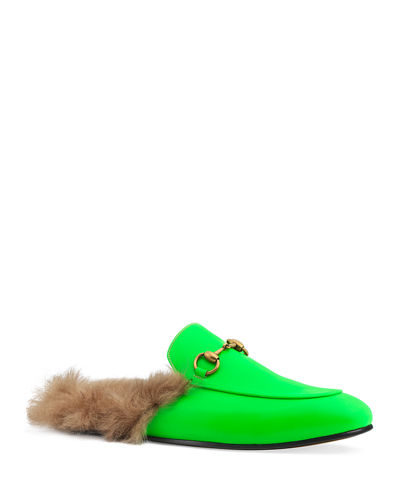 Men's Princetown Fur-Lined Fluorescent Leather Slippers