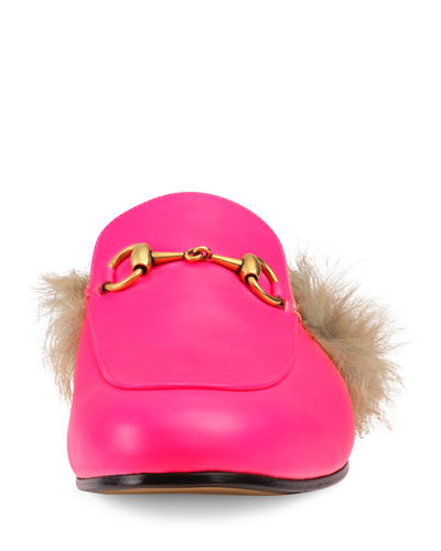 40d8ea8c6b2 Gucci Men s Princetown Fur-Lined Fluorescent Leather Slippers