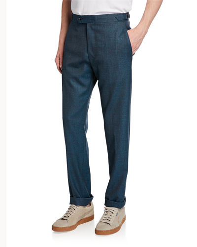 Men's Seasonal Sharkskin Straight-Leg Pants