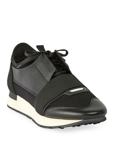 Balenciaga Men's Race Runner Mesh & Leather Sneakers