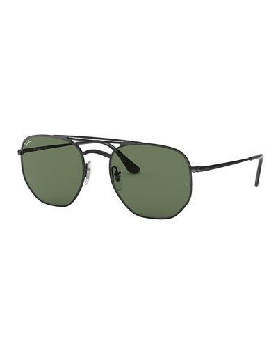 Men's Hexagonal Metal Sunglasses with Solid Lenses