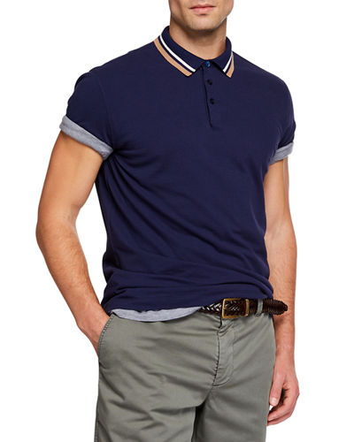 Men's Double Stripe Short-Sleeve Polo Shirt