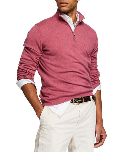 Men's Cashmere Half-Zip Pullover Sweater