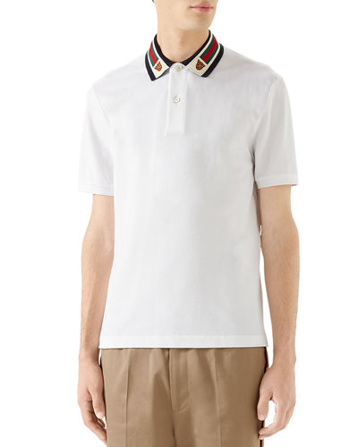 3747fe6df05 Gucci Men s Pique Polo Shirt w  Web Collar