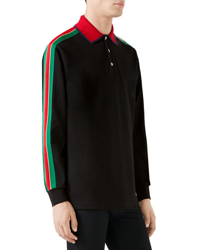 Men's Web-Striped Long-Sleeve Polo Shirt