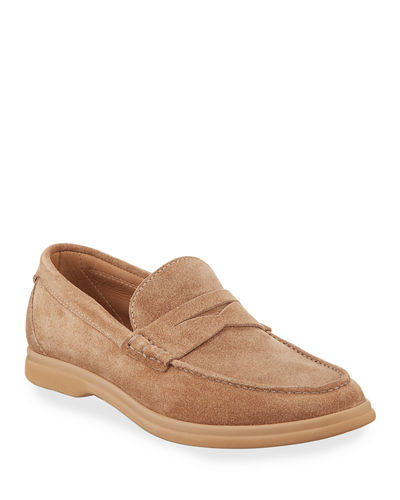 Men's Suede Penny Loafers