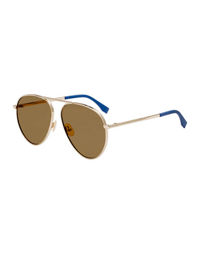Men's Logo-Rim Metal Aviator Sunglasses