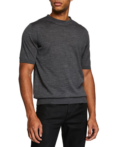 Men's Lana Pettinata Short-Sleeve Crewneck Sweater
