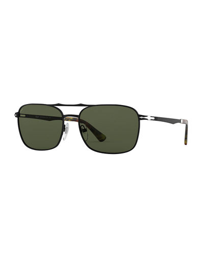 Men's PO2454S Square Metal Sunglasses