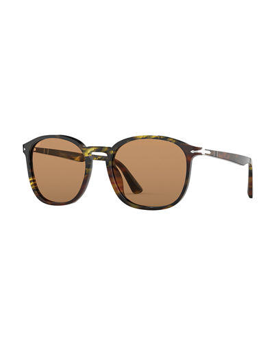 Men's PO3215S Round Acetate Sunglasses