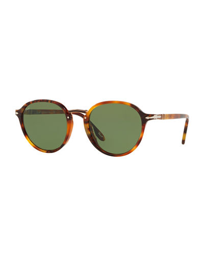 Men's PO3184S Round Acetate Sunglasses