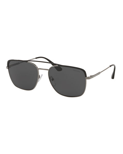 Men's Square Metal Aviator Sunglasses