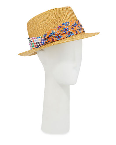 Men's Straw Fedora Hat with Silk Band