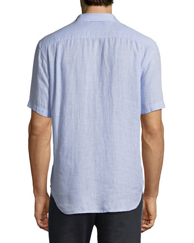 Washed Linen Short-Sleeve Sport Shirt