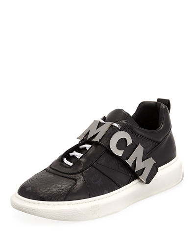 Men's Logo-Strap Leather Mid-Top Sneakers