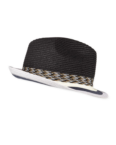 Men's Striped-Brim Straw Fedora Hat