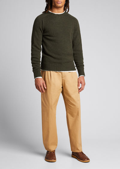 Men's Pleated Straight-Leg Crop Trousers