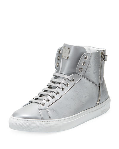 Men's Embossed Leather Turn-Lock High-Top Sneakers