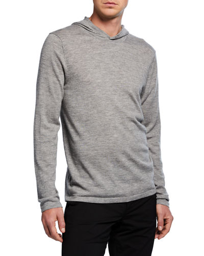 Men's Po Wool-Cashmere Hoodie Sweater