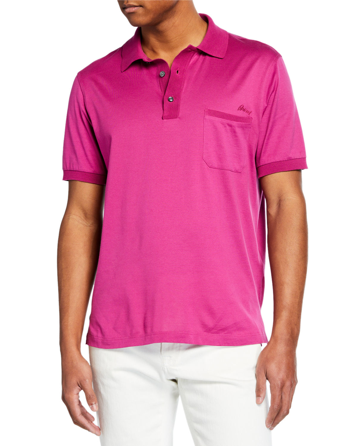 Brioni T-shirts MEN'S JERSEY POLO SHIRT WITH POCKET