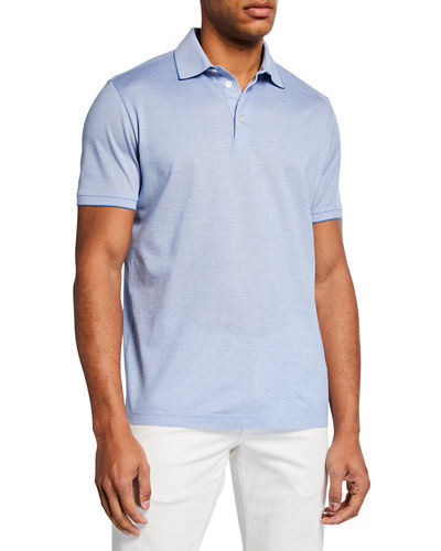 69537ee97 Men's Melville Pique Oxford Polo Shirt w/ Striped Collar Detail