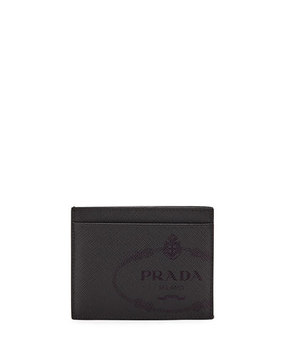 Men's Saffiano Leather Card Case with Savoia Logo