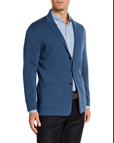 Men's Button-Front Lightweight Virgin Wool Knit Jacket