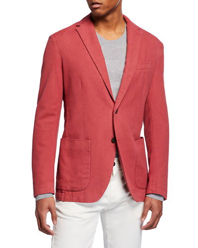 Men's Washed Silk-Blend Two-Button Jacket