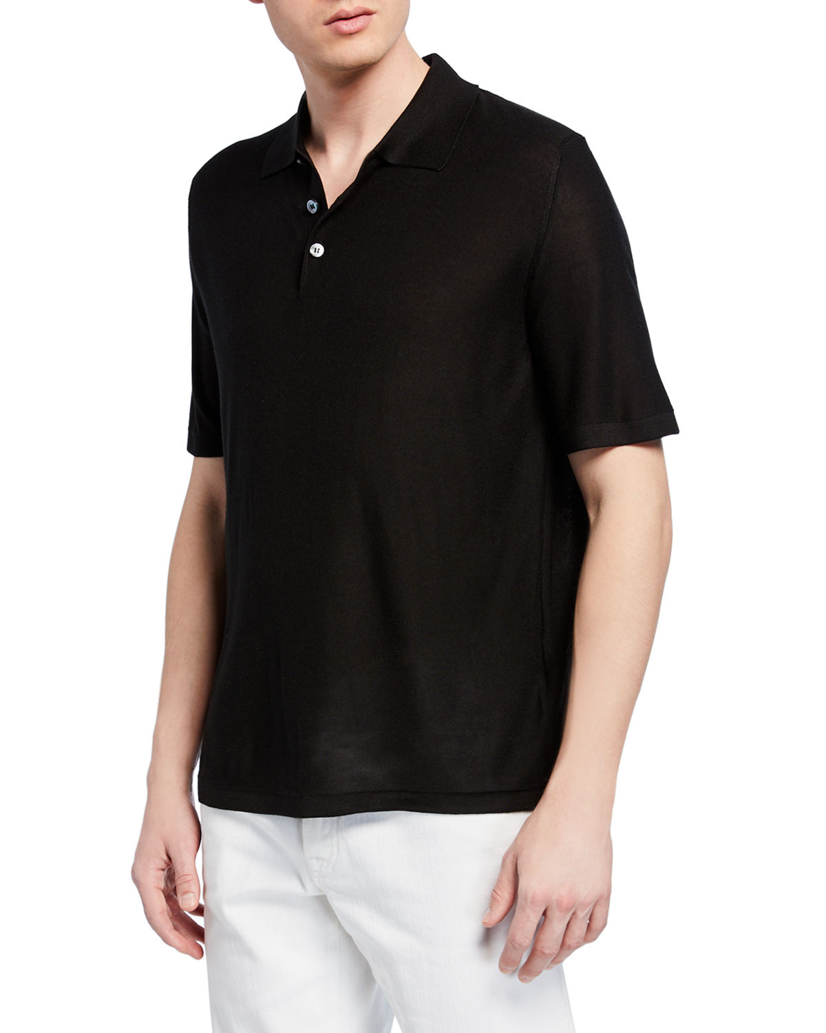 Brioni T-shirts MEN'S SILK POLO SHIRT