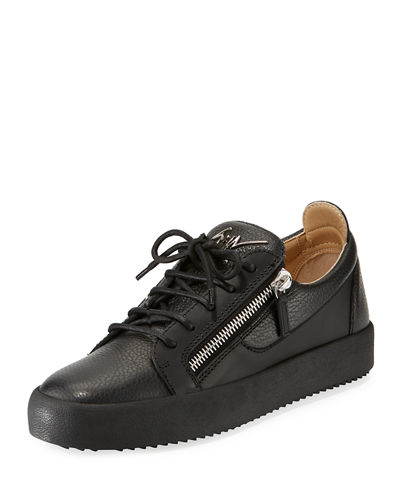 a5d8d4b1c9d91 Men's London Double-Zip Leather Low-Top Sneakers
