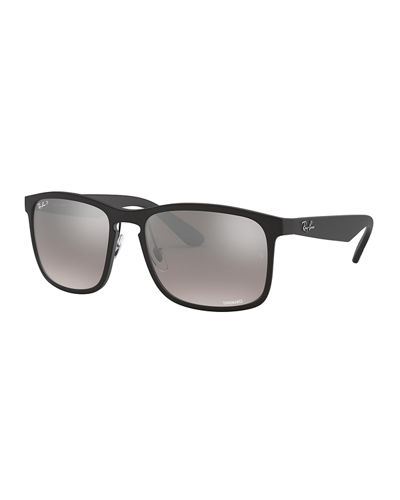 Men's Chromance Mirror Polarized Gradient Square Sunglasses