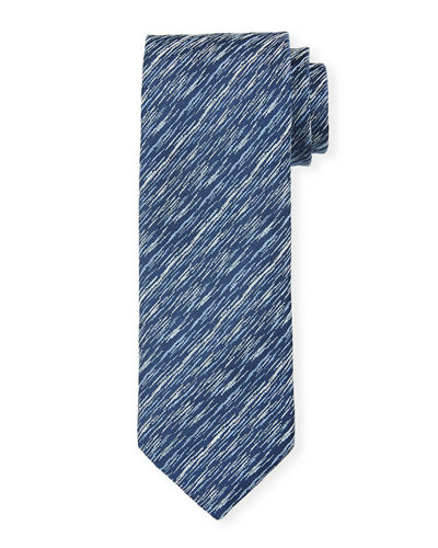 Two-Tone Graphic Silk Tie