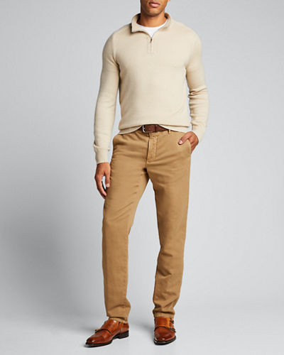 Men's Washed Flat-Front Chino Pants