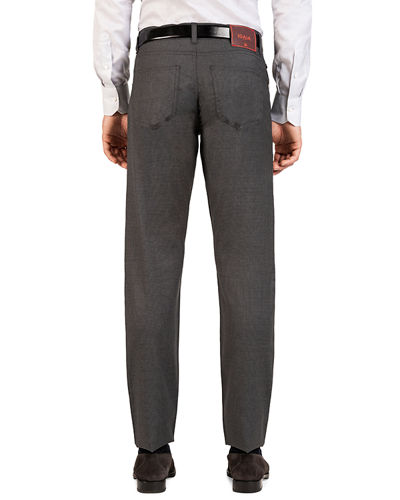 Men's Micro-Check Straight-Leg 5-Pocket Pants