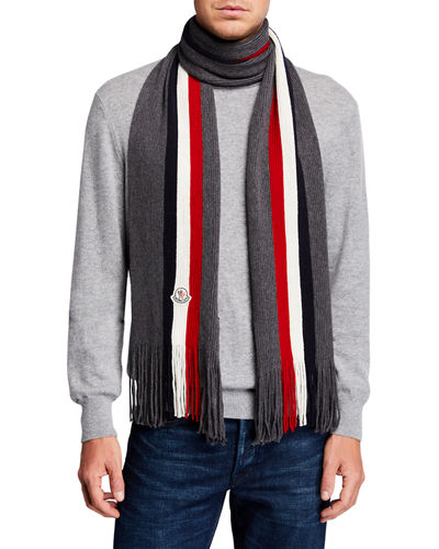 Men's Tricolor Logo-Patch Wool Scarf