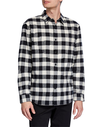Men's Flannel Buffalo Check Long-Sleeve Sport Shirt