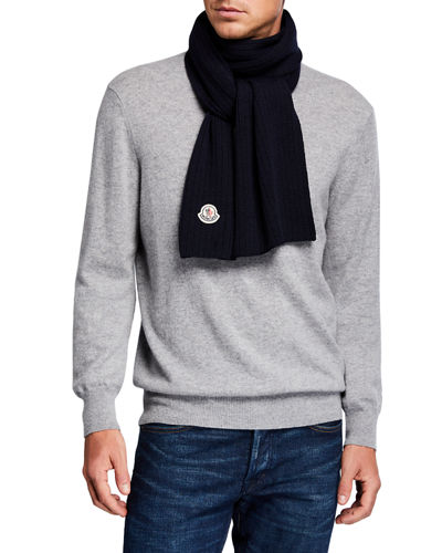 Men's Wool Logo-Patch Scarf