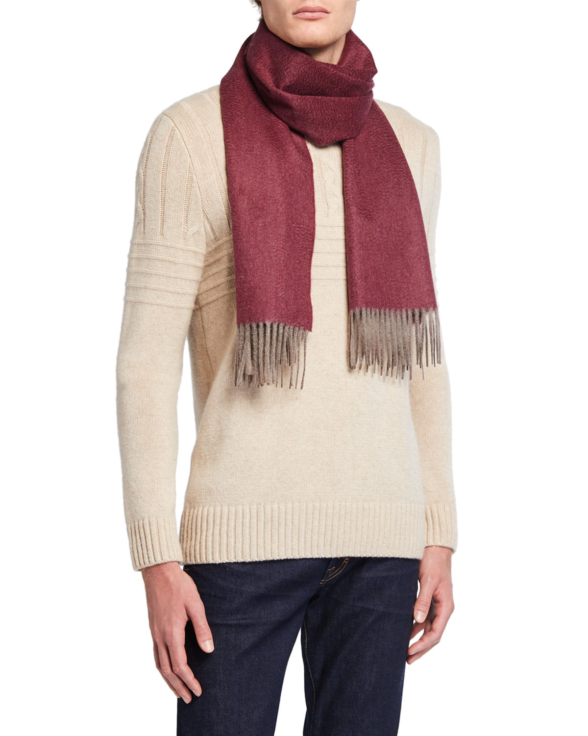 Isaia Accessories MEN'S DOUBLE-FACE CASHMERE SCARF
