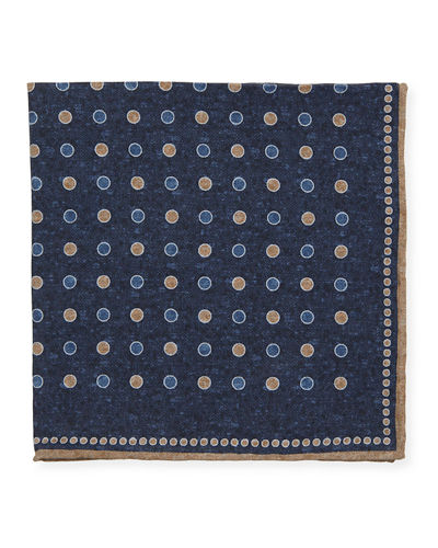Circle Print Silk Pocket Square