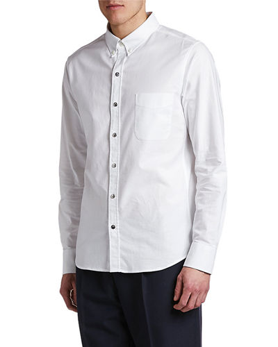 Men's Solid Oxford Sport Shirt with Snaps